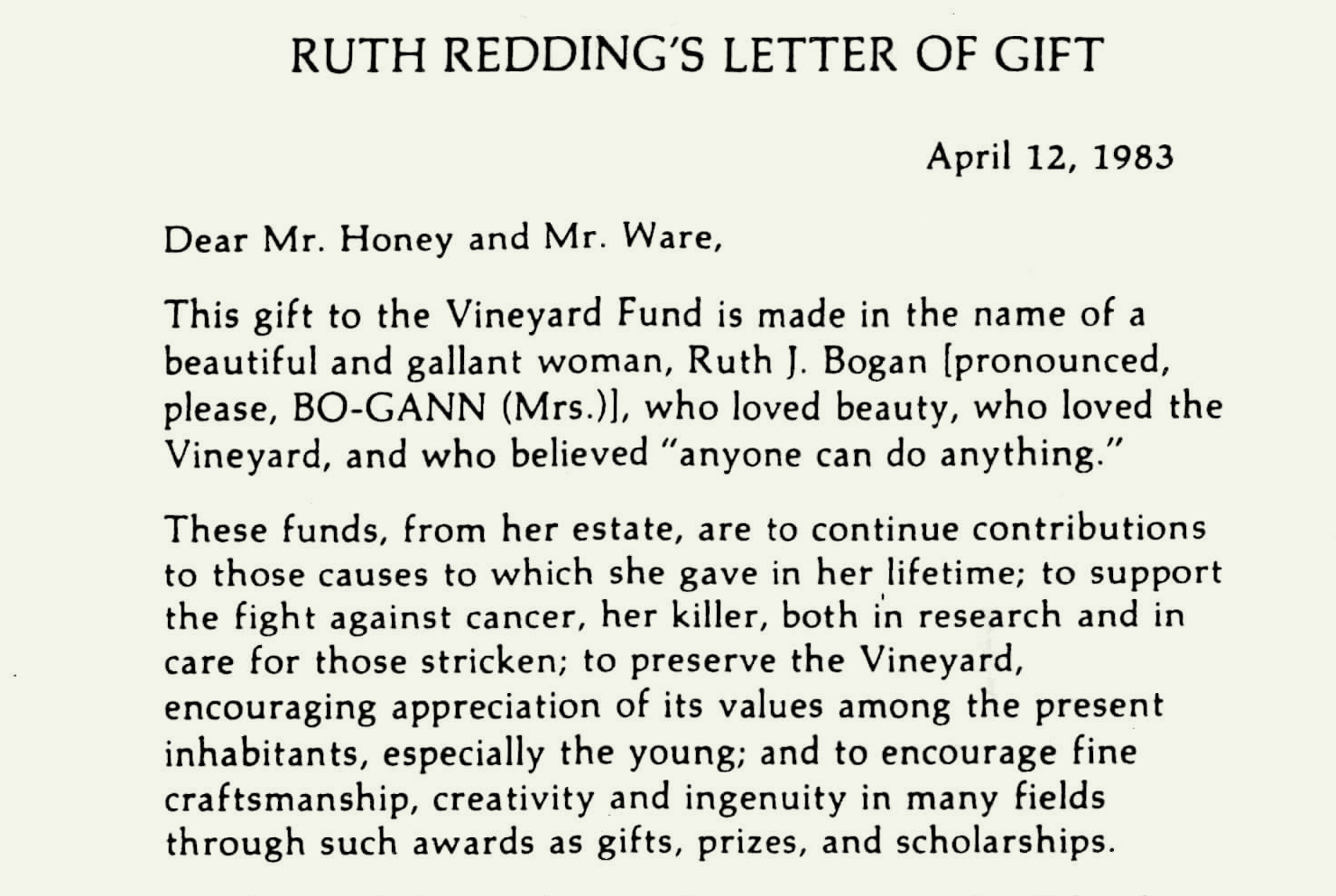 Ruth Redding establishes first fund with gift of $60K