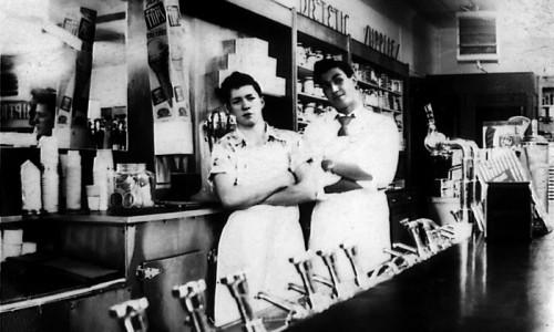 Joe Leonard and Bob Tilton, Yates' Drug Store. Photo courtesy Sue Leonard